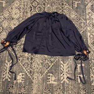 Osman London Faux Neck Tie Sleeve Top